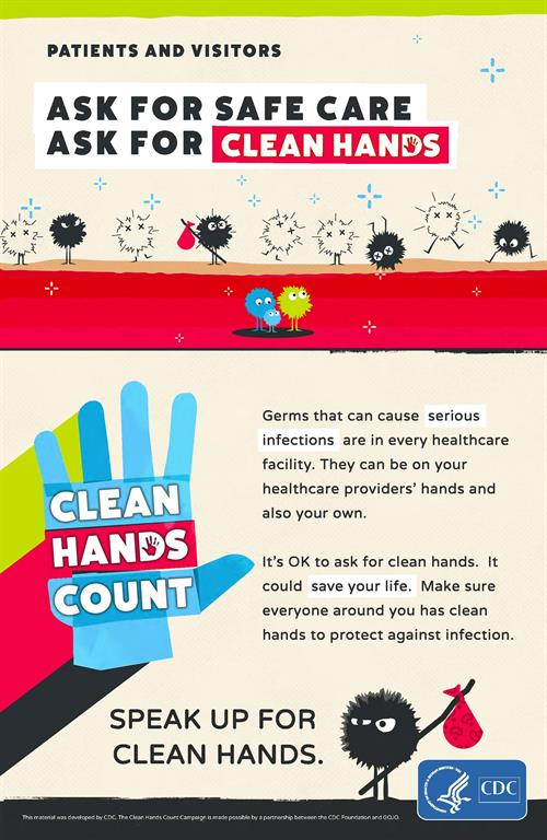 a poster that depicts how people can ensure hand hygiene is performed