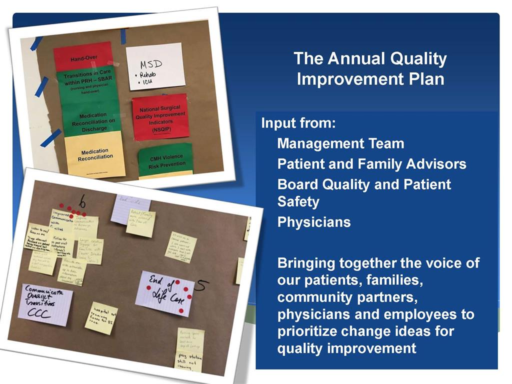 slide showing those who contribute to development of the quality imprvoement plan